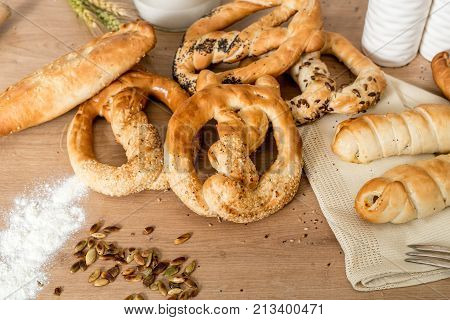 Freshly Baked Pastry Products . Sesame Pretzel And Salty Pastry Pastry