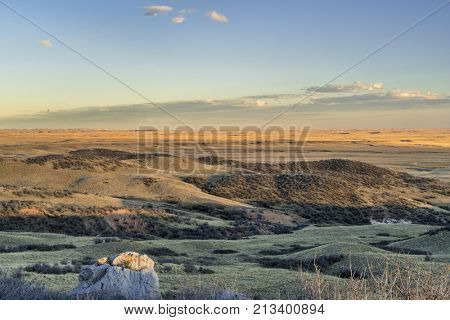 sunset over prairie in northern Colorado near Fort Collins - Soapstone Prairie Natural Area in late fall scenery