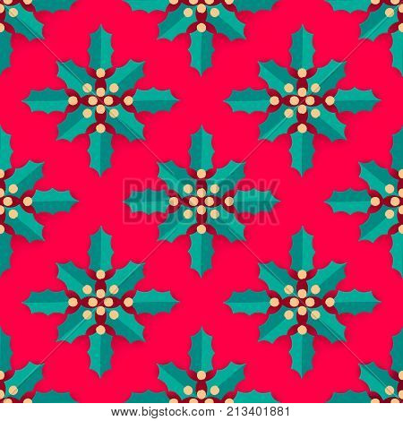 Christmas decoration. Stylized Holly or ilex leaves and berries. Seamless pattern. Vector texture design