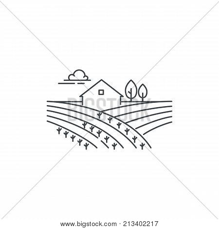 Farmhouse on the field line icon. Outline illustration of landscape, vector linear design isolated on white background. Farm logo template, element for agriculture business, line icon object