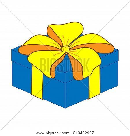 Close gift box with bow sign. Surprise symbol. Image of elegant present. Beautiful colorful icon isolated on white background. Logo for holiday celebration. Mark of decoration for gift. Stock vector