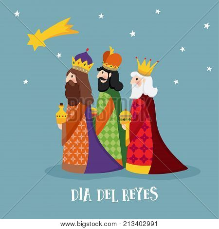 Cute Christmas greeting card, with biblical three kings and comet. Spanish Dia del Reyes invitation, vector illustration background, flat design.