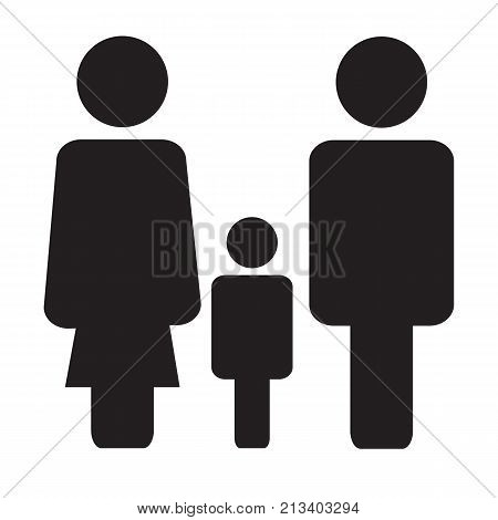 family icon on white background. family sign. flat style. three person icon. three person symbol.