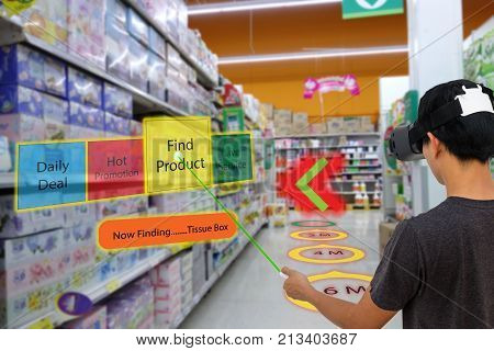 Smart retail with augmented and virtual reality technology concept Customer use ar and vr glasses to search a daily dealhot promotion find product contact service center in the retail