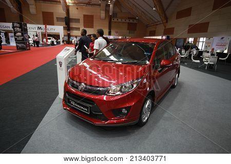 KUALA LUMPUR MALAYSIA - 9 NOVEMBER 2017. New Proton Persona been show at 2017 Malaysia car autoshow. Annual Motor show held at MAEPS Serdang.