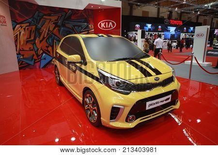 KUALA LUMPUR MALAYSIA - 9 NOVEMBER 2017. New Kia Picanto been show at 2017 Malaysia car autoshow. Annual Motor show held at MAEPS Serdang.