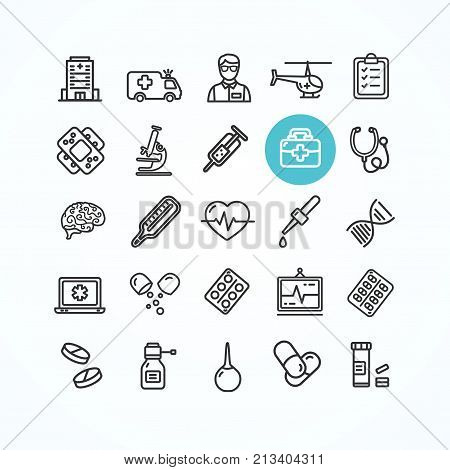 Medicine Symbols and Signs Black Thin Line Icon Set for Wep and App Include of Helicopter, Plaster and Car . Vector illustration
