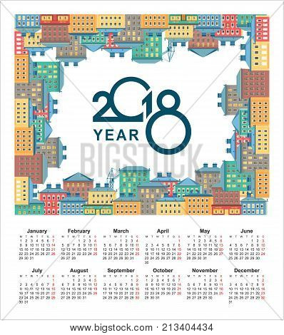 vector illustration city background on perimeter rectangle top view on white background calendar 2018