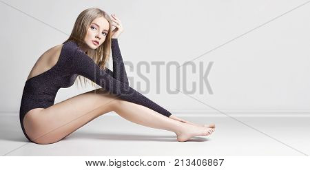 Mockup Beautiful Sexy Blond Woman. Girl With Perfect Body Sitting On The Floor. Beautiful Long Hair
