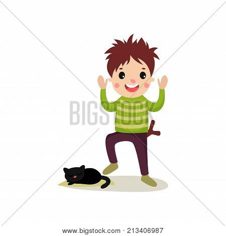 Cheerful teenager going to step on cat s tail. Kid torturing animal. Bad boy behavior concept. Cartoon character of naughty child with crazy hair. Flat style vector illustration isolated on white.