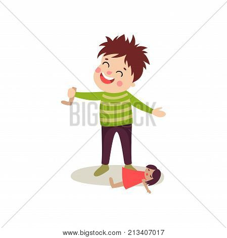 Bad boy with happy face and crazy hair tore off doll s leg. Bully kid demonstrating mischievous uncontrollable behavior. Funny cartoon character. Flat style vector illustration isolated on white.