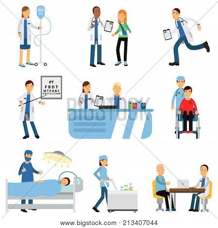 Medical workers characters set doctor with patient, nurse with dropper, trolley with medicines, therapist s and oculist s office, operating room, reception. Hospital concept. Flat vector illustration