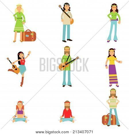 Happy and carefree people set. Hippies dressed in classic woodstock sixties hippy subculture clothes. Love and pacifism. Youth movement. Traveling, spiritual practices and music. Flat vector on white