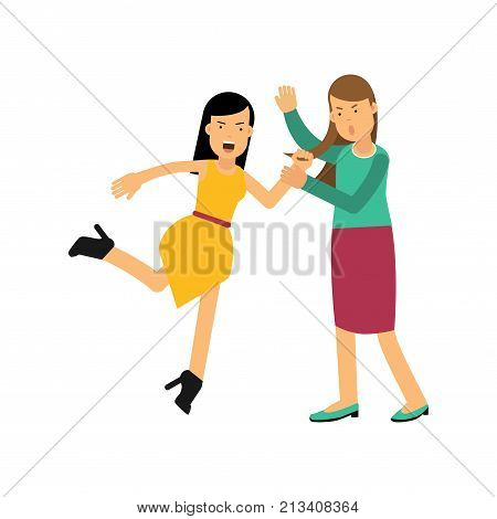 Angry woman in yellow dress attacking young girl and drags her by hair. People arguing and yelling. Female characters in fighting pose. Aggressive and violent behavior. Flat vector isolated on white.