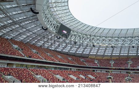 November 4 2017 Moscow Russia. The stands of the Luzhniki stadium in Moscow where the matches of the 2018 FIFA World Cup will be held