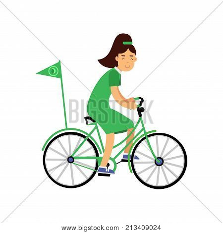 Smiling young girl character in green dress riding a bicycle with flag. Contributing into environment preservation. Ecological lifestyle, ecology, environment concept. Flat vector isolated on white.