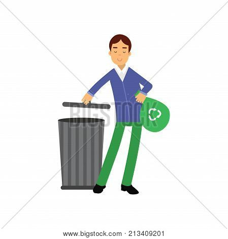 Happy man cartoon character throwing garbage into the waste tank. Contributing into environment preservation. Waste sorting. Volunteering male, ecologically clean world. Flat vector isolated on white.