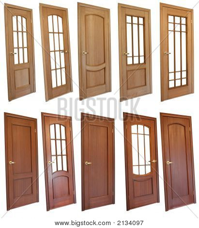 Collection of wooden doors isolated on white poster