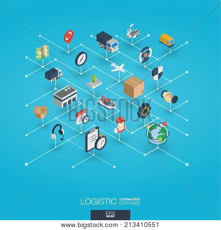 Logistic integrated 3d web icons. Digital network isometric interact concept. Connected graphic design dot and line system. Abstract background for warehouse, storage, shipping delivery and distribution. Vector Infograph