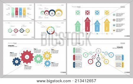 Infographic design set can be used for workflow layout, diagram, report, presentation, web design. Business and workflow concept with bar, venn, comparison, pie, arrow, process and flow charts.