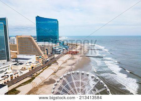Atlantic City Waterline Aerial View