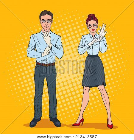 Pop Art Couple of Serious Inspectors in White Gloves. Professional Auditors. Vector illustration