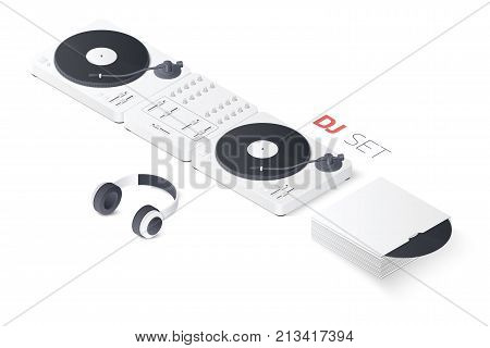 DJ mixing turntable set isolated on white background. Isometric vector illustration