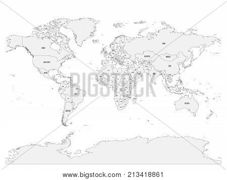 Political map of World with country names and capital cities. Gray vector map.