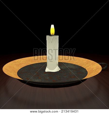 Candle lit in the darkness, 3d rendering