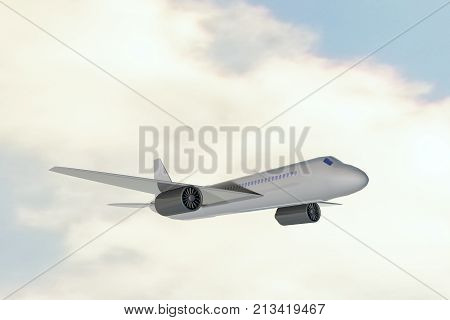 Airplane flying above the clouds, 3d rendering