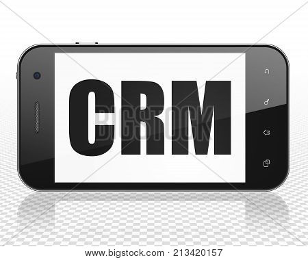 Business concept: Smartphone with black text CRM on display, 3D rendering
