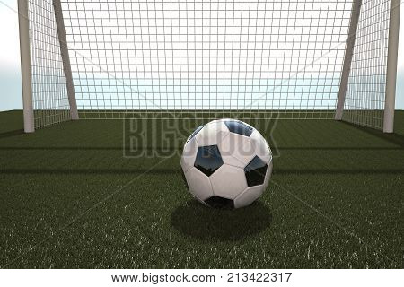 Football in front of goal, 3d rendering