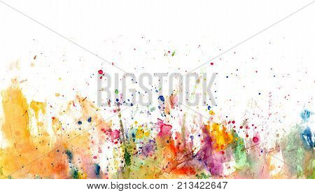 Splatters and stains on white paper - watercolor artistic background - hand drawn