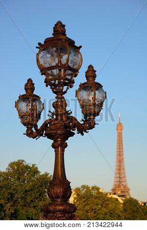 Vintage lamp post and Eiffel Tower on Alexandre III bridge in Paris, France.