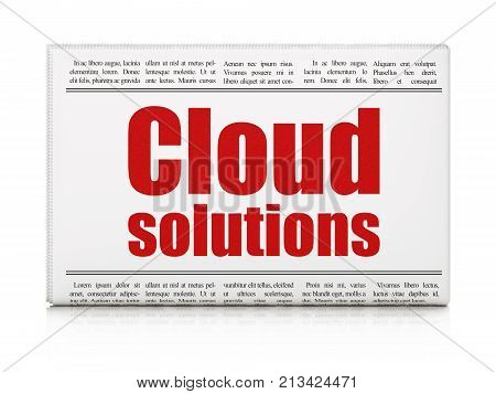 Cloud computing concept: newspaper headline Cloud Solutions on White background, 3D rendering