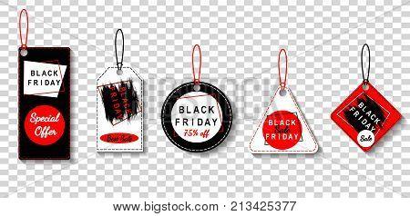 Black friday sale various tags set advertising vector illustration. Transparent background