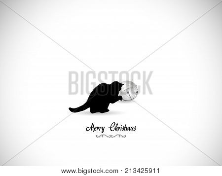 Silhouette of black cat and Christmas jingle bell