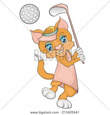 Cat playing golf. Cartoon style. Clip art for children.