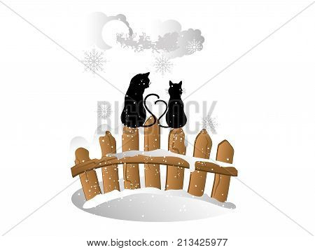 Christmas card with cats on the fence