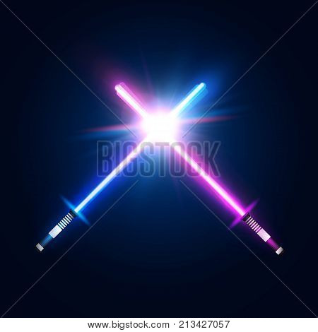 Two crossed light neon swords. Fight club logo or emblem. Blue and purple crossing laser rays. Glowing sabers in space.  Vector illustration.