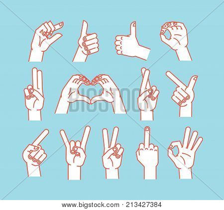 Gesture set. Stulized hands showing different signs. Vector illustration on blue background. Making signals by hands. Orange lines and white silhouette. Various interpretations. Icons.