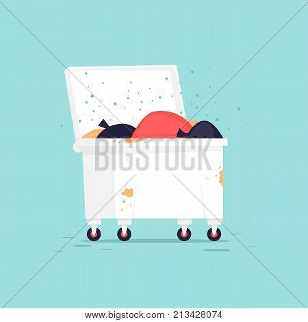 Wastebasket. Flat vector illustration in cartoon style.