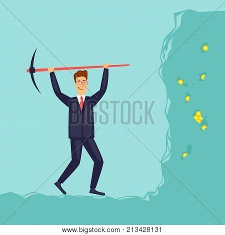 Businessman digging the earth. Flat vector illustration in cartoon style.