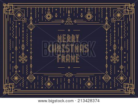 Merry Christmas card template with frame and new year toy art deco line style gold color on black background for poster, greeting card, invitation, party, flyer. Vector Illustration