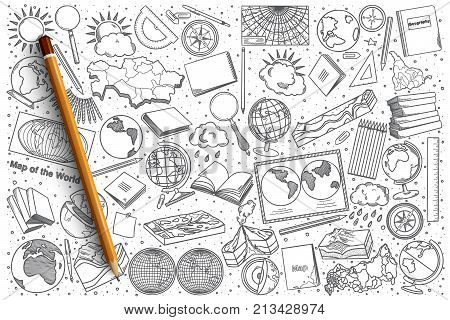 Hand drawn Geography vector doodle set background
