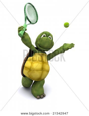 3D Render of a Tortoise playing tennis poster