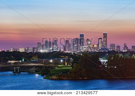 Red sunset over Houston, Texas. View from city docks