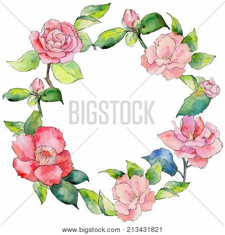 Wildflower camellia flower wreath in a watercolor style. Full name of the plant: camellia. Aquarelle wild flower for background, texture, wrapper pattern, frame or border.