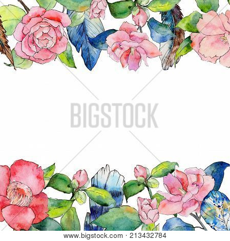 Wildflower camellia flower frame in a watercolor style. Full name of the plant: camellia. Aquarelle wild flower for background, texture, wrapper pattern, frame or border.