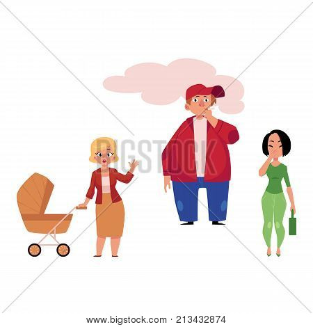 Young man smoking and two women suffering from secondhand smoke, cartoon vector illustration isolated on white background. Male smoker, worried mom and coughing woman, victims of passive smoking